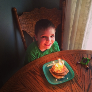 Fun Fetti pancakes for his 6th Birthday.