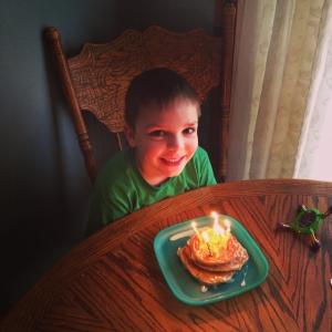 Fun Fetti pancakes for his 6th Birthday.